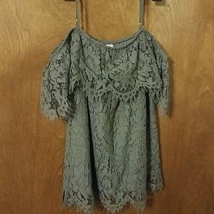 NWOT Gray Lace Sleeveless Blouse